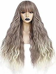 cheap -anogol hair cap+long body wave wigs ombre synthetic wigs with end blonde wig with bangs for lolita wigs