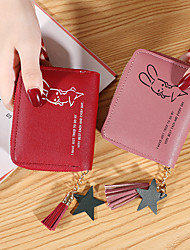 cheap -Women's Bags PU Leather Wallet Tassel Zipper Letter Animal 2021 Shopping Daily Wine Black Blushing Pink Dusty Rose