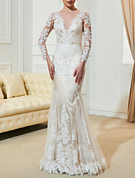cheap -Mermaid / Trumpet Wedding Dresses V Neck Sweep / Brush Train Lace Tulle Long Sleeve Romantic Beach with Appliques 2020