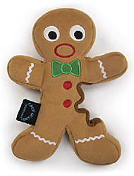 cheap -holiday gingerbread man with chew guard technology plush dog toy, large