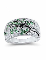 cheap -925 sterling silver ring delicate cherry tree green spinel shiny white cubic zirconia (6.5)