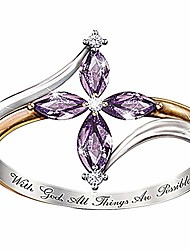 cheap -exquisite jewelry ring love rings with god all things are possible lady dual color faux amethyst cross floral ring wedding band best gifts for love with valentine's day - golden us 7