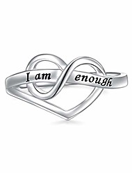 cheap -i am enough ring s925 sterling silver heart ring for women size 8