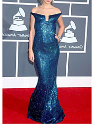 cheap -Mermaid / Trumpet Celebrity Style Sparkle Prom Formal Evening Dress Off Shoulder Sleeveless Floor Length Sequined with Sequin 2021