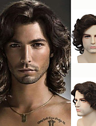 cheap -Cosplay Costume Wig Synthetic Wig Wavy Wavy With Bangs Wig Short Medium Length Black Synthetic Hair Men's Side Part Natural Black