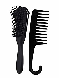 cheap -close-tooth comb curly hair comb + wide tine comb with hook shampoo brush set (as shown, b)