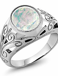 cheap -925 sterling silver oval white simulated opal men's ring 4.00 ct (size 8)