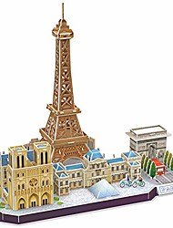 cheap -3d puzzle france paris cityline - notre dame de paris, eiffel tower, triumphal arch, the louvre, 114 pieces
