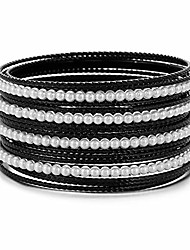 cheap -black with lt.cream white color acrylic pearl-beads mixed metal girls&women bangles