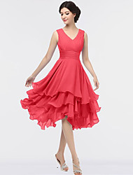 cheap -A-Line V Neck Knee Length Chiffon Bridesmaid Dress with Tier / Ruching