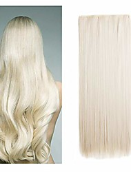 """cheap -24"""" long straight 1 piece with 5 clips in hair extensions thick 3/4 full head synthetic hairpiece (blonde 60#)"""