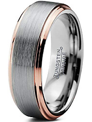 cheap -tungsten wedding band ring 6mm men women comfort fit 18k rose gold grey step edge brushed polished size 8.5