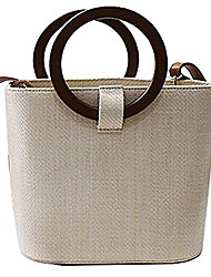 cheap -women straw bucket bag | travel shopping wood handle tote | top handle cross-body shoulder handbag (beige)