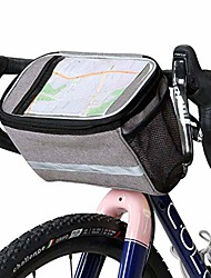 cheap -handlebar bag bike bag, bike pouch for cycling cycling storage bag pouch phone with touch basket-gray-6l
