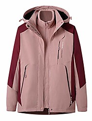 cheap -misaky women's hooded raincoat outdoor sport waterproof windproof detachable thicken two-piece set jacket(pink, m)