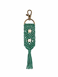 cheap -keychains boho bag with tassels wooden beads handcrafted accessory car key holder, purse, phone wallet for women girls(green)