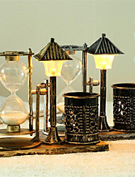 cheap -Creative Antique Sand Street Lamp Pen Holder Hourglass Small Night Light Decorations With Lights