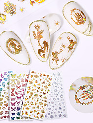 cheap -17 pcs 3D Laser Bronzing Color Gold Butterfly Stickers Butterfly Nail Stickers Nail Decals Christmas Ornaments