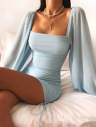 cheap -Women's Sheath Dress Short Mini Dress - Long Sleeve Solid Color Patchwork Fall Winter Square Neck Sexy Slim 2020 Blue S M L XL