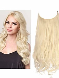 cheap -Hair Extension Ombre Black to Ash Blonde Synthetic Curly Hairpiece Long 16 Inch 3.9 Oz Hidden Wire Headband for Women Heat Resistant Fiber No Clip