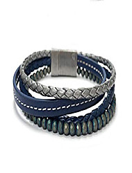 cheap -men's 8mm beaded bracelet with multi-color hematine faceted beads and leather stainless steel | fits 7.5 to 8 inch wrists men's accessories fashion bracelet (blue)