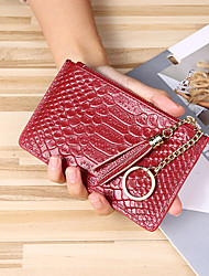 cheap -Women's Bags Nappa Leather Wallet Zipper Animal 2021 Daily Outdoor Black Blue Purple Red