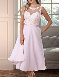 cheap -A-Line Illusion Neck Floor Length Chiffon Bridesmaid Dress with Appliques