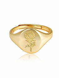 cheap -handmade flower signet ring -18k gold over 925 sterling silver adjustable ring-minimalistic statement ring - delicate personalized jewelry gift for women/girls (available for size 7、8、9)