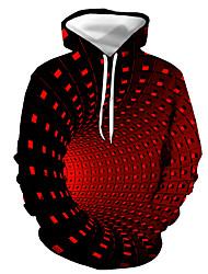 cheap -Men's Hoodie Color Block Geometric 3D Daily Holiday Streetwear Halloween Hoodies Sweatshirts  Black Purple Red