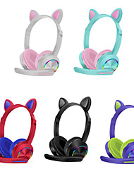 cheap -Bluetooth 5.0 Wireless Headphones Cute Cat Ear Foldable LED Luminous Headset for Girls Kids Gifts Wireless Bluetooth AKZ-K23 Headphones