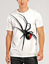 cheap -Men's T shirt 3D Print Graphic Spiders Animal Print Short Sleeve Daily Tops Casual Cream Linen White