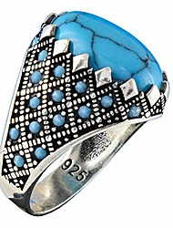 cheap -solid 925 sterling silver turkish handmade simulated turquoise luxury men's ring (8.5)