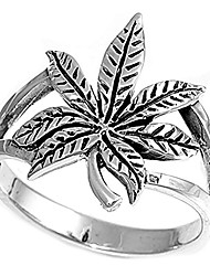 cheap -sterling silver cannabis sativa marijuana ring wholesale band 17mm size 10