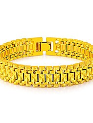 cheap -jewelry fashion 18k gold plated men's link bracelet carving wistband, 12mm, 8 inch (a)