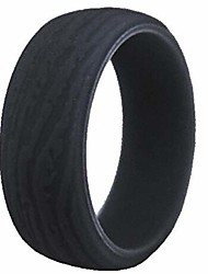 cheap -9mm retro vintage silicone rubber wedding band classical excersie band ring (grey, 14)