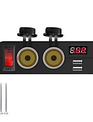 cheap -Auto Dual USB Charger 12V/24V 2 Power Sockets Digital Voltmeter Multi-function Female Socket for Dashcam GPS Boat Marine Parts