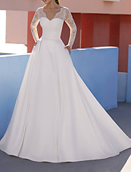 cheap -A-Line Wedding Dresses V Neck Floor Length Lace Satin Long Sleeve Formal Luxurious with Appliques 2021