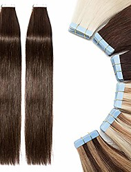 cheap -tape in hair extensions 40 pcs human hair - 100% real remy hair straight seamless skin weft hair extension (#02 dark brown, 16 inch, 80g)