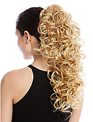 cheap -- mkb-6a-v-124 ponytail hairpiece extensions optional combs & clamp long voluminous curled curls golden blond 17inch