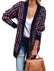 cheap -womens casual candy color cable knit crochet open front cardigan sweater plaid stripe coat outerwear (purple,x-large)