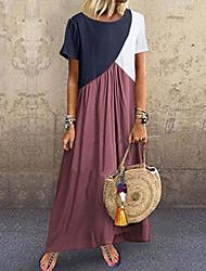 cheap -Women's Sheath Dress Maxi long Dress Purple Yellow Wine Khaki Green Dark Gray Brown Gray Short Sleeve Color Block Patchwork Fall Spring Round Neck Casual 2021 S M L XL XXL 3XL 4XL 5XL / Plus Size