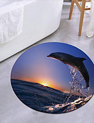 cheap -Dolphins Jumping In The Sunset Round Mat Carpet Door Mat Bedroom Living Room Carpet Study Room Carpet Kitchen Bathroom Anti-slip Mat
