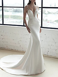 cheap -Mermaid / Trumpet Wedding Dresses V Neck Sweep / Brush Train Lace Stretch Satin Sleeveless Country Romantic with Appliques 2021