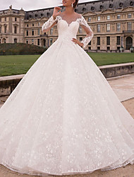 cheap -A-Line Wedding Dresses Jewel Neck Floor Length Lace Tulle Long Sleeve Country Luxurious with Appliques 2021
