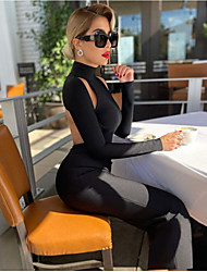 cheap -Women's Sheath Dress Maxi long Dress - Long Sleeve Solid Color Backless Fall Winter Formal Sexy Going out Club Slim 2020 Black S M L