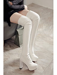 cheap -Women's Boots Chunky Heel Pointed Toe Thigh High Boots Sexy Classic Wedding Party & Evening PU Solid Colored Winter White Black / Mid-Calf Boots