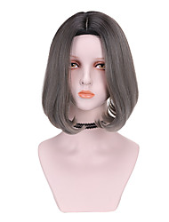 cheap -Synthetic Wig Curly Bob Wig Short Brown Grey Synthetic Hair 10 inch Women's Comfy Fluffy Brown Gray