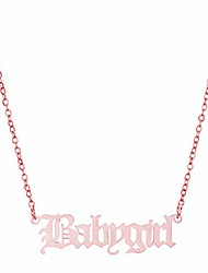 cheap -vintage babygirl necklace chic words clavicle chain choker stainless steel old english necklace teen girls women jewelry gift (rose gold)