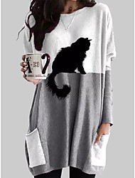 cheap -Women's T shirt Dress Cat Graphic Prints Long Sleeve Pocket Patchwork Round Neck Tops Basic Basic Top Gray