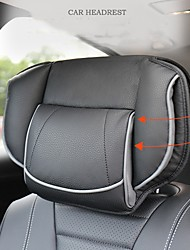 cheap -Universal Car Seat Headrest Pillow Adjustable Seat Head Memory Foam Neck Pillows Leather Pillow